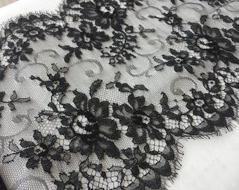Black Lace Trim, Sophie Hallette Lace, Chantilly Lace, French Lace, Bridal lace, Wedding Lace, Scalloped lace, Evening dress lace, Lingerie