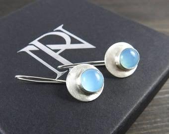 Artisan earrings Silver gemstone earrings Gifts for her Gemstone earrings Blue earrings  chalcedony drops dangle earrings