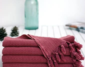Plum Stonewashed Throw |  100%  Turkish Cotton