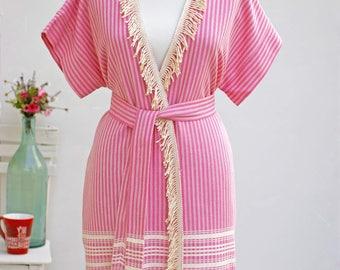 Fringed Peshtemal Woman Robe   100% Turkish Cotton Beach Robe