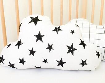Neutral Nursery Decor, Cloud Pillow for Kids, Monochrome, Stars, Cloud Cushion, Nursery Pillow, Best Newborn Gifts, Baby Room Decor Ideas