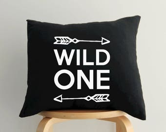 Wild One Pillow, Gift for Mom, Nursery Throw Pillow, Modern Baby, Scandinavian Nursery Decor, Black White Decorative Cushion, Arrow Decor