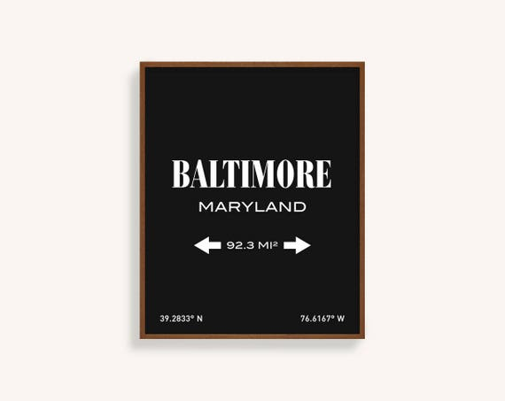 BALTIMORE PRINT Baltimore Maryland Baltimore Map Baltimore