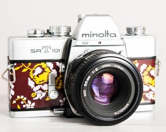 Minolta SRT 101 - functional vintage 35mm film analog SLR camera, portrait 50 prime lens, Neckstrap, Filter, Genuine Leather, New Lightseals