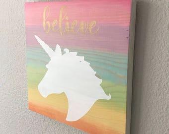 Rainbow Unicorn Wood Sign, Wall Art, Wall Decoration