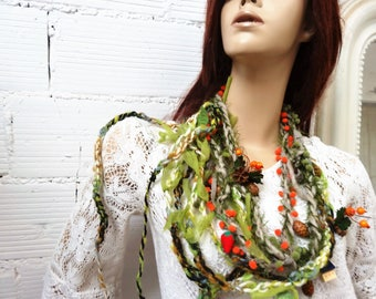 scarf necklace multi links in green and orange berries