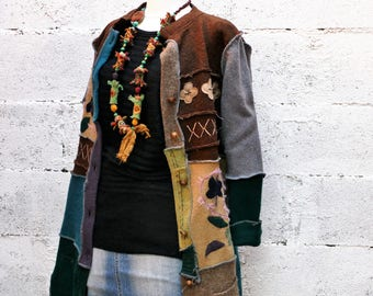 Boho style coat sweater and wool recycled patchwork jacket