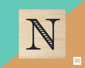 Modern Alphabet-N - 3cm Rubber Stamp (DODRS0168)