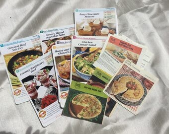Vintage Recipe Cookery Cards from 1999