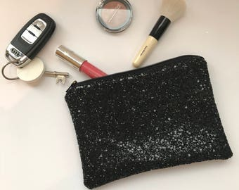 Black glitter clutch bag,  glitter clutch bag, evening clutch bag, wedding clutch bag, prom clutch bag, black evening bag