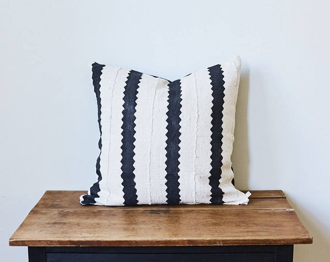 "Vintage African Mud Cloth Fabric Throw Pillow 20"" x 20"""