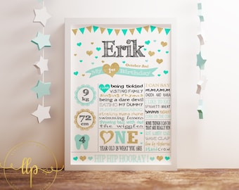 Personalized Birthday A3 White Chalkboard Poster + Matching Invitation - Digital File - Green Gold Hearts