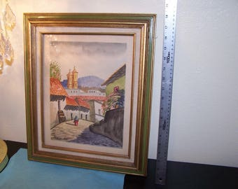 Original Watercolor Painting Mexico by Ponce Village landscape