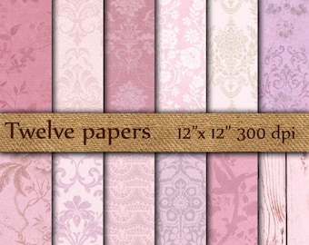 """40% OFF Damask digital papers: """"PURPLE PAPERS"""" damask texture , damask wallpaper , floral texture , damask background"""