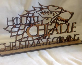 Game of Thrones personalised Christmas is Coming sign