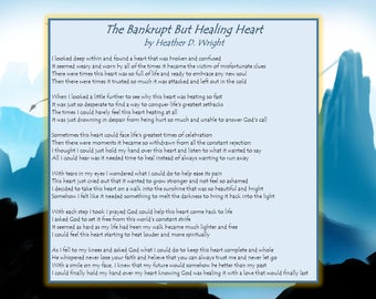 The Bankrupt But Healing Heart - Printable Poetry Instant Download