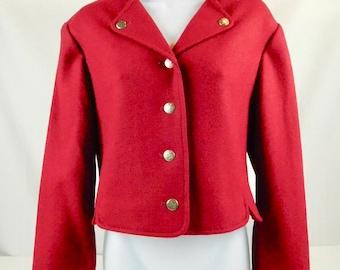 Pendleton Ladies Red 100% Wool Short Cropped Bolero Jacket Size 8 Made in USA Portland Oregon Valentines Day Christmas Work Business