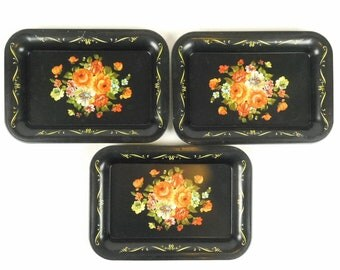 Lot of 3 Small Tin Metal Toleware Folk Art Trays Painted Flowers Floral Serving Change Coins Display Decor Wall Art