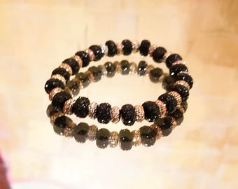 Black & Gold sparkling beaded bracelet