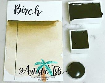 Birch, brown, sienna, handmade paint, watercolor, artist paint, travel size, half pan, full pan, art, calligraphy, brush lettering