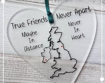 Acrylic plaque. Long distance Friendship Relationship Christmas Birthday Best friend Boyfriend Girlfriend  Stocking Filler Gift