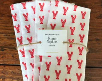 Set of 2 or 4 Red Block Print Lobster Made-To-Order Cotton Dinner Napkins