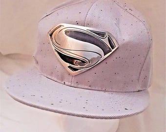 "DC Superman ""Man of Steel"" Silver w/ Black Logo Gray Snap-back Hat"