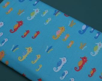 1 Yard Timeless Treasures Fabrics Novelty Turquoise Seahorses NEW