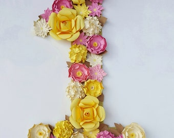 Paper Flower Number or Letter, Birthday Decor, Photoshoot, Birthday Prop in customizable colors