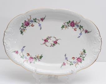 """Wawel Rose Garden Vintage Polish China Serving Platter 13"""""""
