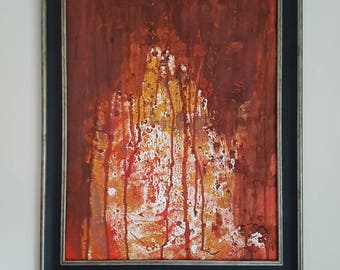Drip Painting   abstract   Original 16cm x 20cm  Textured Abstract Acrylic Painting   Modern art Brown, orange, red    contemporary art gift