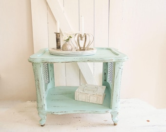 Chippendale side table shelf table unique turquoise
