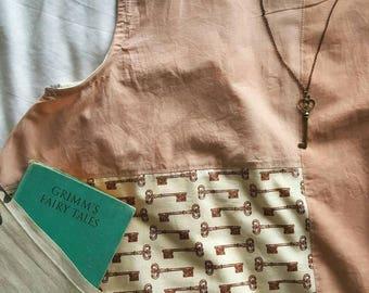 Eco Summer Top, Custom Made Top, Mori Girl top, boho sleeveless tank, swing top, UK sizes 10-16, handprinted fabric, naturally dyed