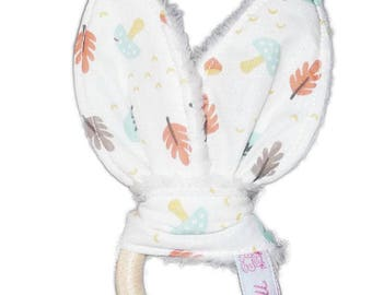 Rattle Teether wood cotton bunny ears - fall - (Bell)