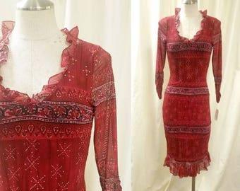 1990s Little Red Dress / Dark Wine, Body Con Midi with Sheer Mesh Overlay / Ruffle Neckline / Modern Size XS or XXS