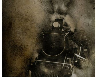 train photography, train print, black and white photo, black and white print, wall art, home decor, wall hanging, canvas print, canvas photo