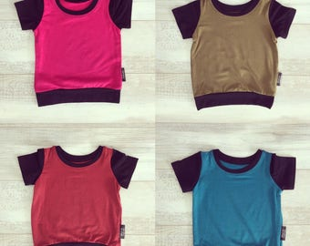 Plain T-shirt, bamboo for babies and children, choice of colors