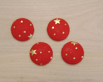 fabric 4 cabochons x 20mm Red Star ref C-10