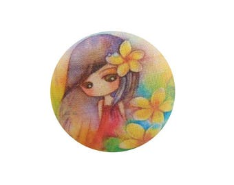 1 cabochon 19mm x 4 BOUT11 flowers girl fabric