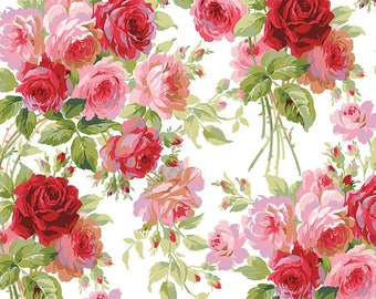 SALE! Rose - Per Yd - Roses on White - Beautiful - by Anna Griffin