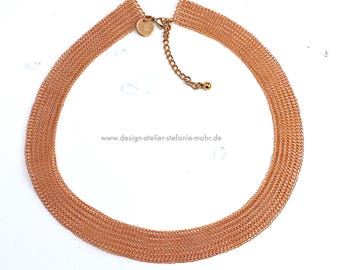 wire crochet collier / necklace enamelled copper wire 52-58 cm