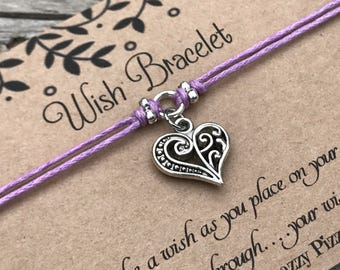 Love Heart Wish Bracelet, Make a Wish Bracelet, Wish Bracelet, Friendship Bracelet, Minimalist Jewelry, Heart Bracelet, Gift for Her, Love