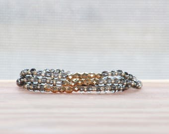 Beaded Multi Wrap - Gold and Gray Beaded Bracelet - Elastic Bracelet - Seed Beads