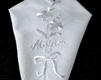 VINTAGE HANDKERCHIEF embroidered with MOTHER and flowers.  Society silk hand embroidery, white-on-white, antique, Mother's day gift