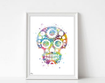 Skull art print, watercolor illustration-multicolor, small and large format, birthday gift idea, modern decor