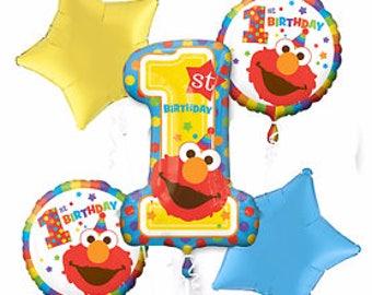 Sesame Street 1st Birthday Balloon Bouquet , Balloon Bouquet , First Birthday Decoration, Sesame Street balloon
