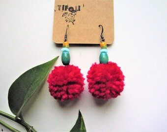 Ready to Ship, Pompom earrings, Bright Pink Earrings, Dangle earrings