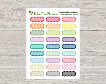 Scalloped Quarter Box Planner Stickers for Erin Condren Planner