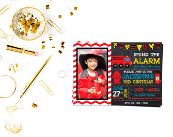 Fire Truck Photo Invitation,Firetruck Invitation, Firefighter invite, Fire truck Chalkboard, Fireman invitation, photo invitation