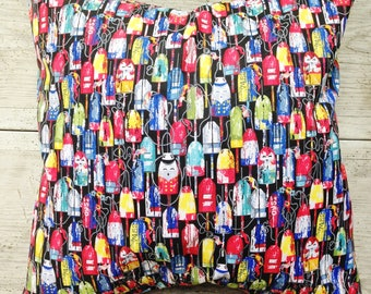 Cute , colorful Buoys and Floats Print Beach Pillow Covers Ocean Seaside Cabana Resort Patio Decor